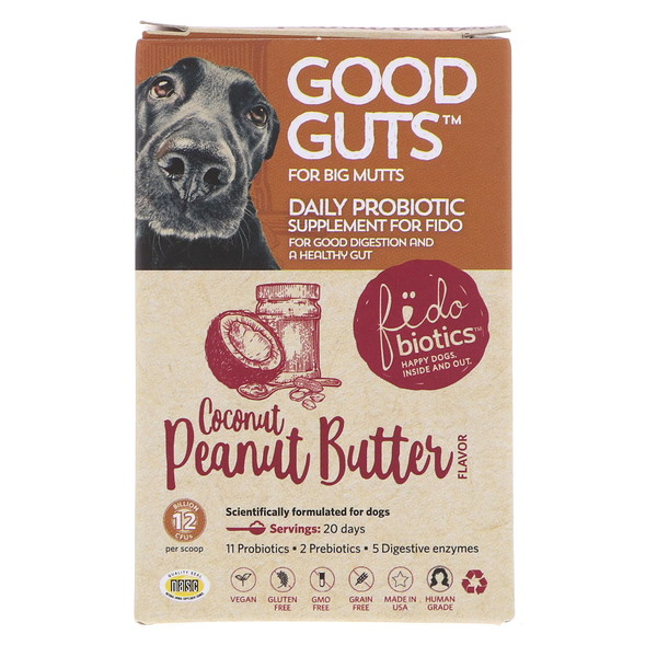 Fidobiotics, Good Guts, Daily Probiotic, For Big Mutts, Coconut Peanut Butter, 12 Billion CFUs, 1.4 oz (40 g) (Discontinued Item)