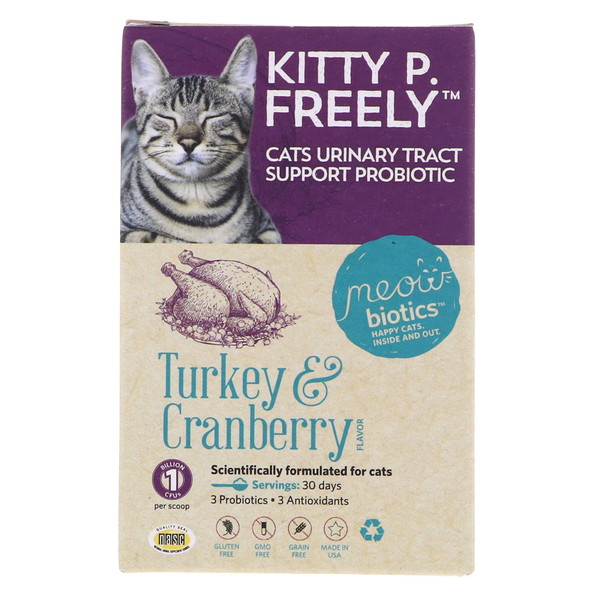 Fidobiotics, Kitty P. Freely, Cats Urinary Tract, Support Probiotic, Turkey & Cranberry, 1 Billion CFUs, 0.5 oz (14.5 g) (Discontinued Item)