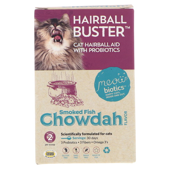 Fidobiotics, Hairball Buster, Smoked Fish Chowdah, Cat Hairball Aid, With Probiotics, 2 Billion CFUS, 0.5 oz (15 g) (Discontinued Item)
