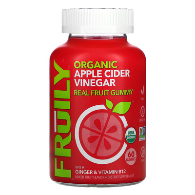 Fruily Organic Apple Cider Vinegar with Ginger & Vitamin B12, Mixed Fruit, 60 Gummies