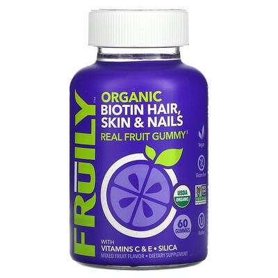 Fruily Organic Biotin Hair, Skin & Nails, With Vitamins C & E, Zinc, Mixed Fruit, 60 Gummies
