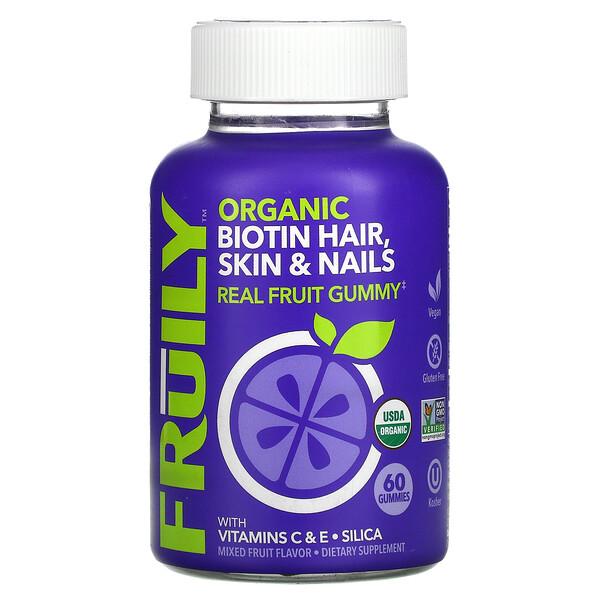 Organic Biotin Hair, Skin & Nails, With Vitamins C & E, Zinc, Mixed Fruit, 60 Gummies