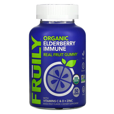 Fruily Organic Elderberry Immune with Vitamins C & D, Zinc, Mixed Fruit, 50 Gummies