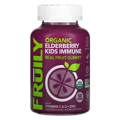 Fruily Organic Elderberry Kids Immune, With Vitamins C & D, Zinc, Mixed Fruit, 50 Gummies