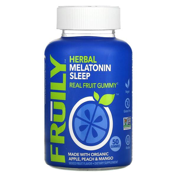 Herbal Melatonin Sleep with Organic Apple, Peach & Mango, Mixed Fruit, 50 Gummies