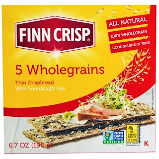 Finn Crisp, 5 Wholegrains Thin Crispbread, 6.7 oz (190 g)