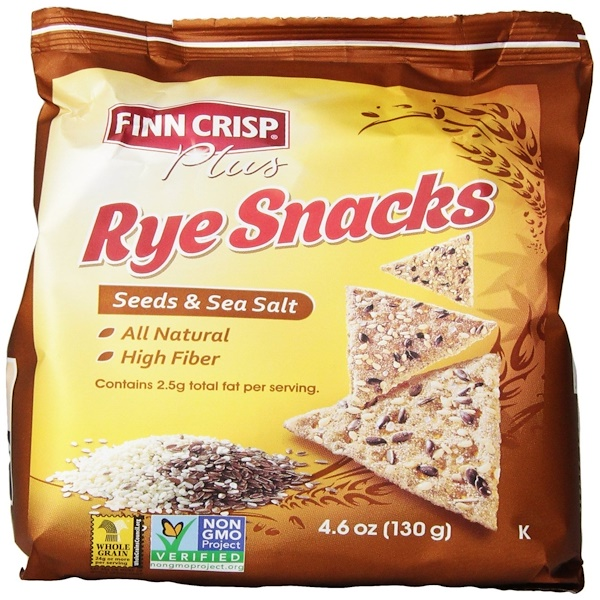 Finn Crisp, Plus, Rye Snacks, Seeds & Sea Salt, 4.6 oz (130 g) (Discontinued Item)
