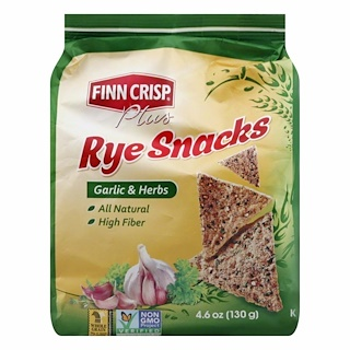 Finn Crisp, Plus, Rye Snacks, Garlic & Herbs, 4.6 oz (130 g)