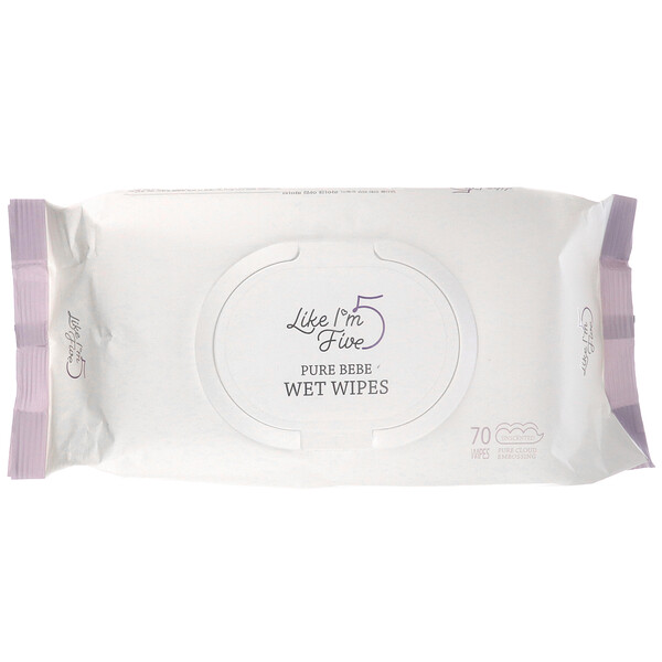 Like I'm Five, Pure Bebe, Wet Wipes, Unscented, 70 Wipes (Discontinued Item)