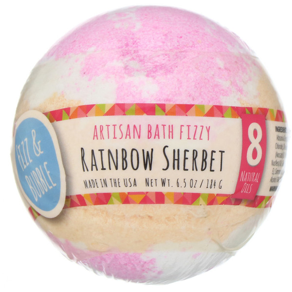 Fizz & Bubble, Artisan Bath Fizzy, Rainbow Sherbet, 6.5 oz (184 g)