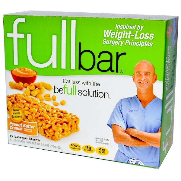 Fullbar, Peanut Butter Crunch, 6 Large Bars, 1.59 oz (45 g) Each (Discontinued Item)