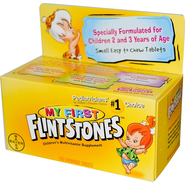 Flintstones, My First, Children's Multivitamin Supplement, Fruit Flavors, 100 Chewable Tablets (Discontinued Item)