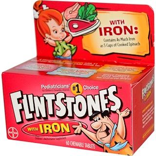 Flintstones, Children's Multivitamin with Iron, Fruit Flavors, 60 Chewable Tablets