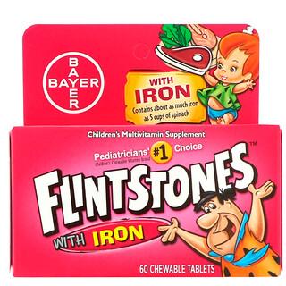 Flintstones, Suplemento Multivitamínico com Ferro para Crianças, Sabor de Frutas, 60 Comprimidos Mastigáveis