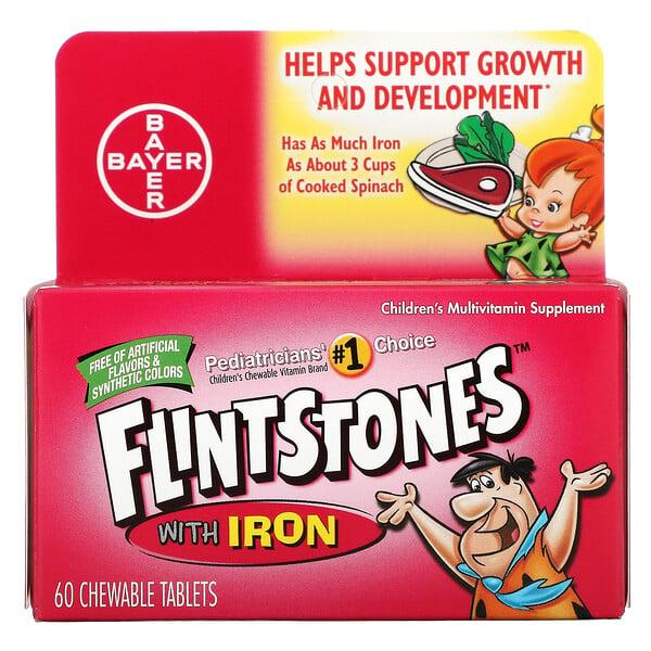 Flintstones, Suplemento vitamínico para niños con hierro, sabores frutales, 60 tabletas masticables