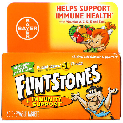 Купить Flintstones Children's Multivitamin Supplement + Immunity Support, Fruit, 60 Chewable Tablets