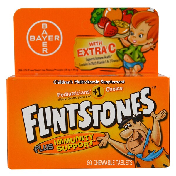 Flintstones, Children's Multivitamin, Plus Immune Support, Fruit Flavors, 60 Chewable Tablets