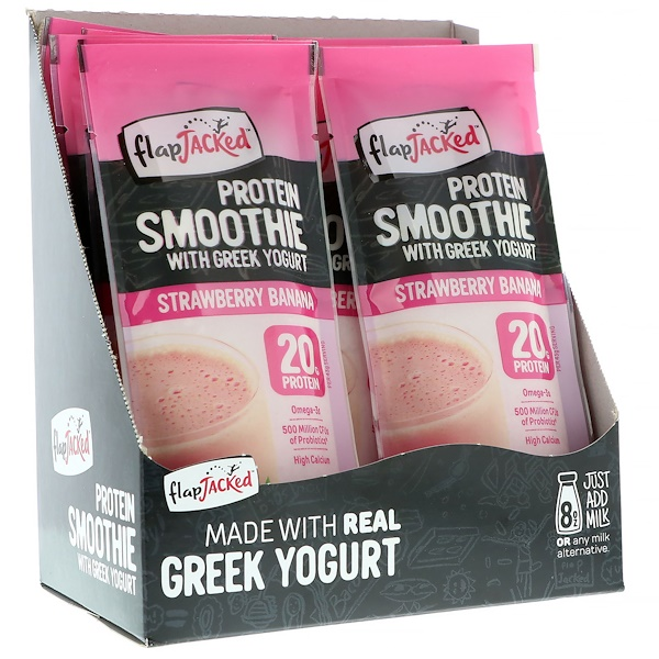 FlapJacked, Protein Smoothie With Greek Yogurt, Strawberry Banana, 12 Packets, 1.5 oz (43 g) Each