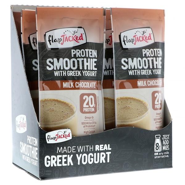 FlapJacked, Protein Smoothie With Greek Yogurt, Milk Chocolate, 12 Packets, 1.6 oz (46 g) Each