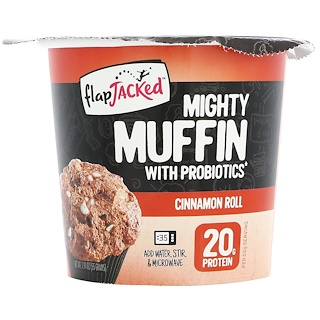 FlapJacked, Mighty Muffin with Probiotics, Cinnamon Roll, 1.94 oz (55 g)