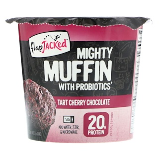 FlapJacked, Mighty Muffin, with Probiotics, Tart Cherry Chocolate, 1.94 oz (55 g)