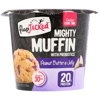 """FlapJacked, """"Мощный маффин"""" с пробиотиками, арахисовое масло и джем, 1,94 унц. (55 г)"""
