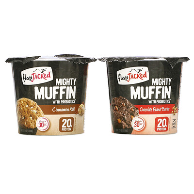 FlapJacked Mighty Muffins with Probiotics, Founders Variety Pack, 6 Pack, 1.94 oz (55 g) Each