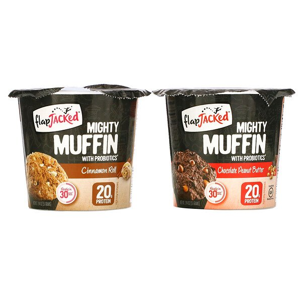 FlapJacked, Mighty Muffins with Probiotics, Founders Variety Pack, 6 Pack, 1.94 oz (55 g) Each