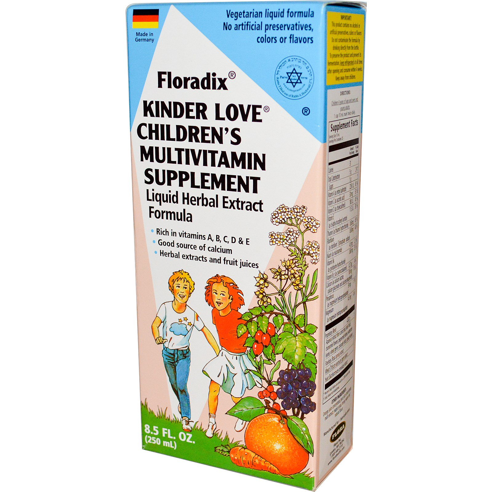 Flora, Floradix детские жидкие травяные поливитамины, 250 мл