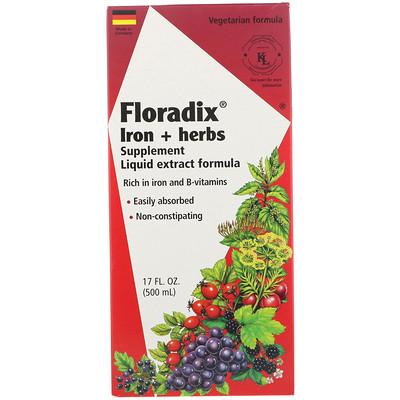 Купить Floradix, добавка с железом и травами, формула с жидким экстрактом, 500 мл (17 жидк. унций)