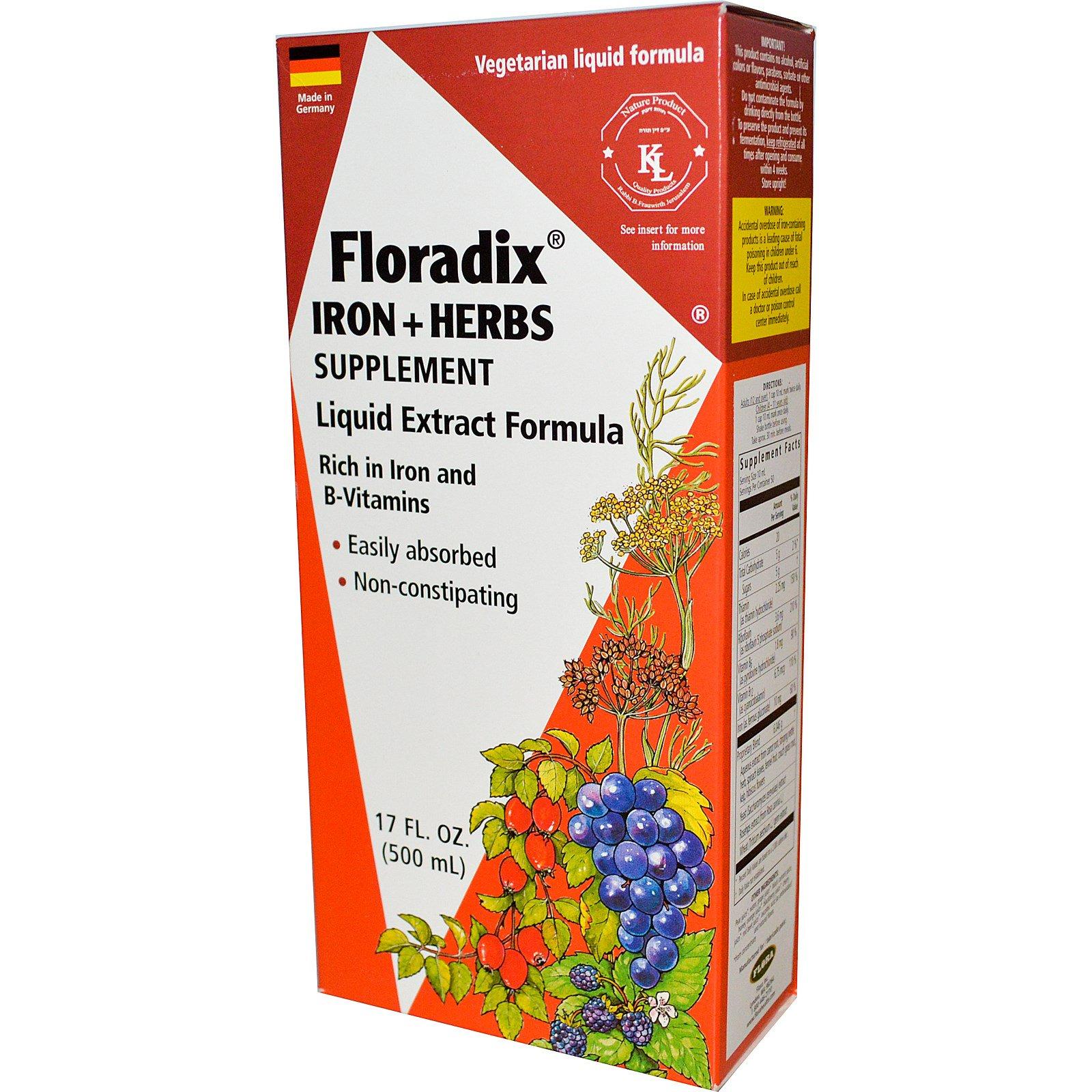 Flora, Флорадикс, железо + травы, жидкий экстракт, 17 жидких унций (500 мл)