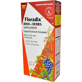 Flora, Floradix, Iron + Herbs Supplement, Liquid Extract Formula, 17 fl oz (500 ml)
