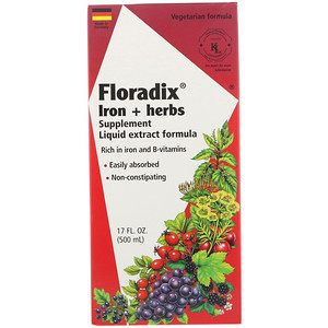 Флора, Floradix, Iron + Herbs Supplement, Liquid Extract Formula, 17 fl oz (500 ml) отзывы покупателей