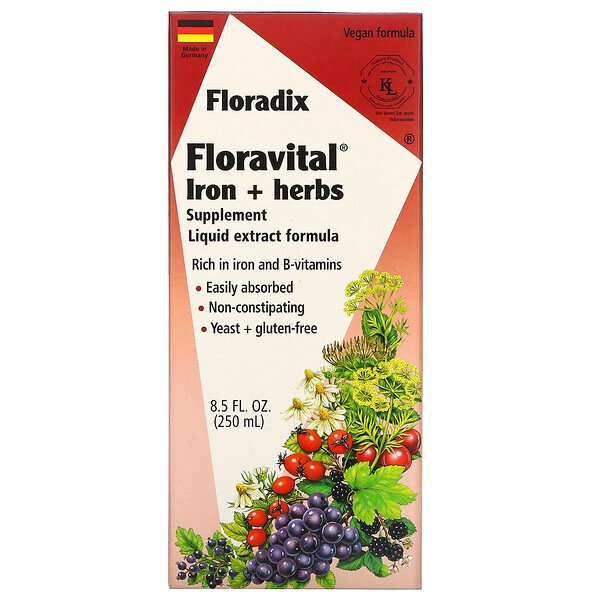 Salus, Floradix, Floravital Iron + Herbs Supplement, Liquid Extract Formula, 8.5 fl oz (250 ml)