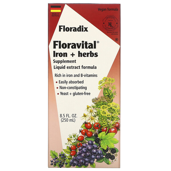 Flora, Floradix, Floravital Iron + Herbs Supplement, Liquid Extract Formula, 8.5 fl oz (250 ml) (Discontinued Item)