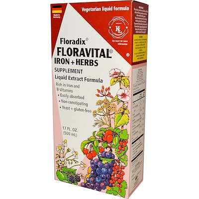 Купить Флорадикс, флоравиталь, растительная добавка с железом, жидкий экстракт, 17 жидких унций (500 мл)