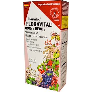 Flora, Floradix, Floravital,  Iron + Herbs Supplement, Liquid Extract Formula, 17 fl oz (500 ml)