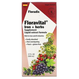 Флора, Floradix, Floravital  Iron + Herbs Supplement, Liquid Extract Formula, 17 fl oz (500 ml) отзывы покупателей