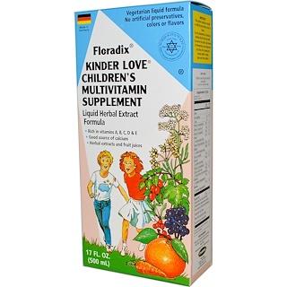 Flora, Floradix, Kinder Love, مكمل غذائي متعدد الفيتامينات للأطفال، 17 أونصة سائلة (500 مل)