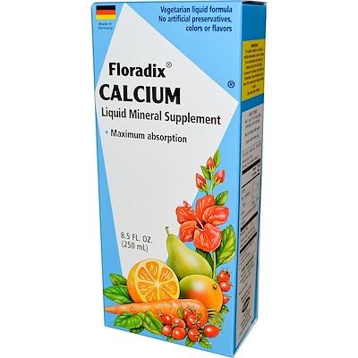 Floradix, кальций, жидкая минеральная добавка, 8,5 жидких унций (250 мл) минеральная добавка для здоровья кишечника 237 мл 8 жидких унций