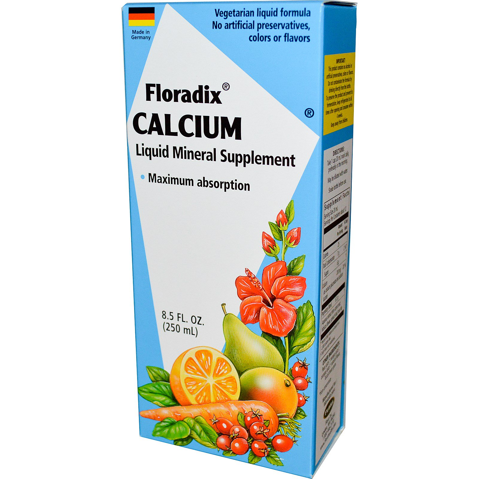 Flora, Floradix, кальций, жидкая минеральная добавка, 8,5 жидких унций (250 мл)