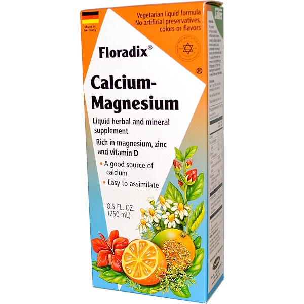Salus-Haus, Floradix Calcium - Magnesium with Zinc and Vitamin D, 8.5 fl oz (250 ml)