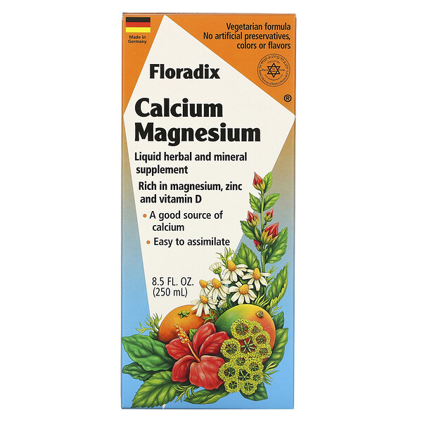 Floradix, Calcium Magnesium, Liquid Herbal and Mineral Supplement, 8.5 fl oz (250 ml)