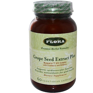 Flora, Grape Seed Extract Plus, 60 Veggie Caps