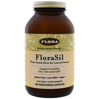 Flora, FloraSil, Диоксид кремния на растительной основе для естественной красоты, 180 вегетарианских капсул