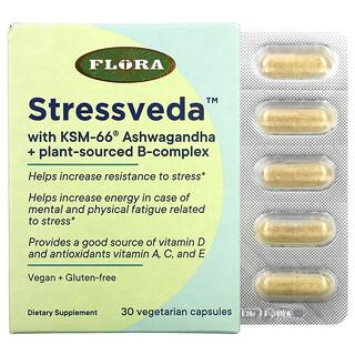 Flora, Stressveda with KSM-66 Ashwagandha + Plant-Sourced B-Complex, 30 Vegetarian Capsules
