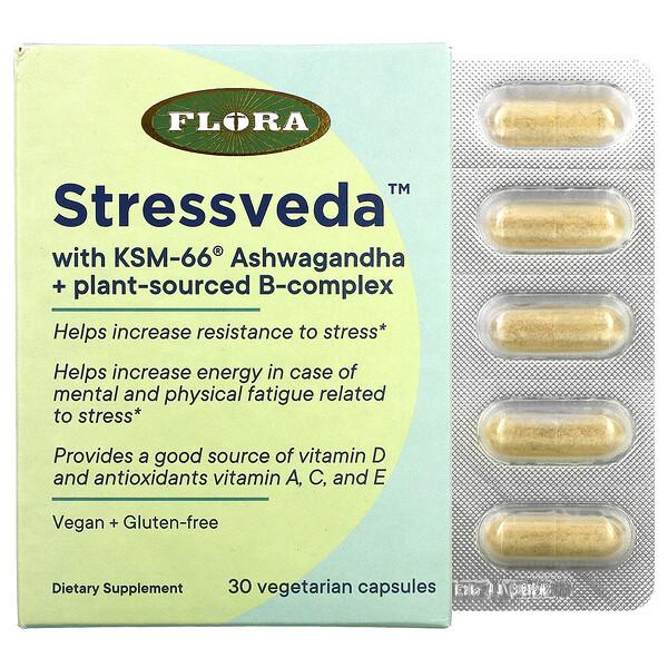 Stressveda With KSM-66 Ashwagandha + Plant-sourced B-complex, 30 Vegetarian Capsules