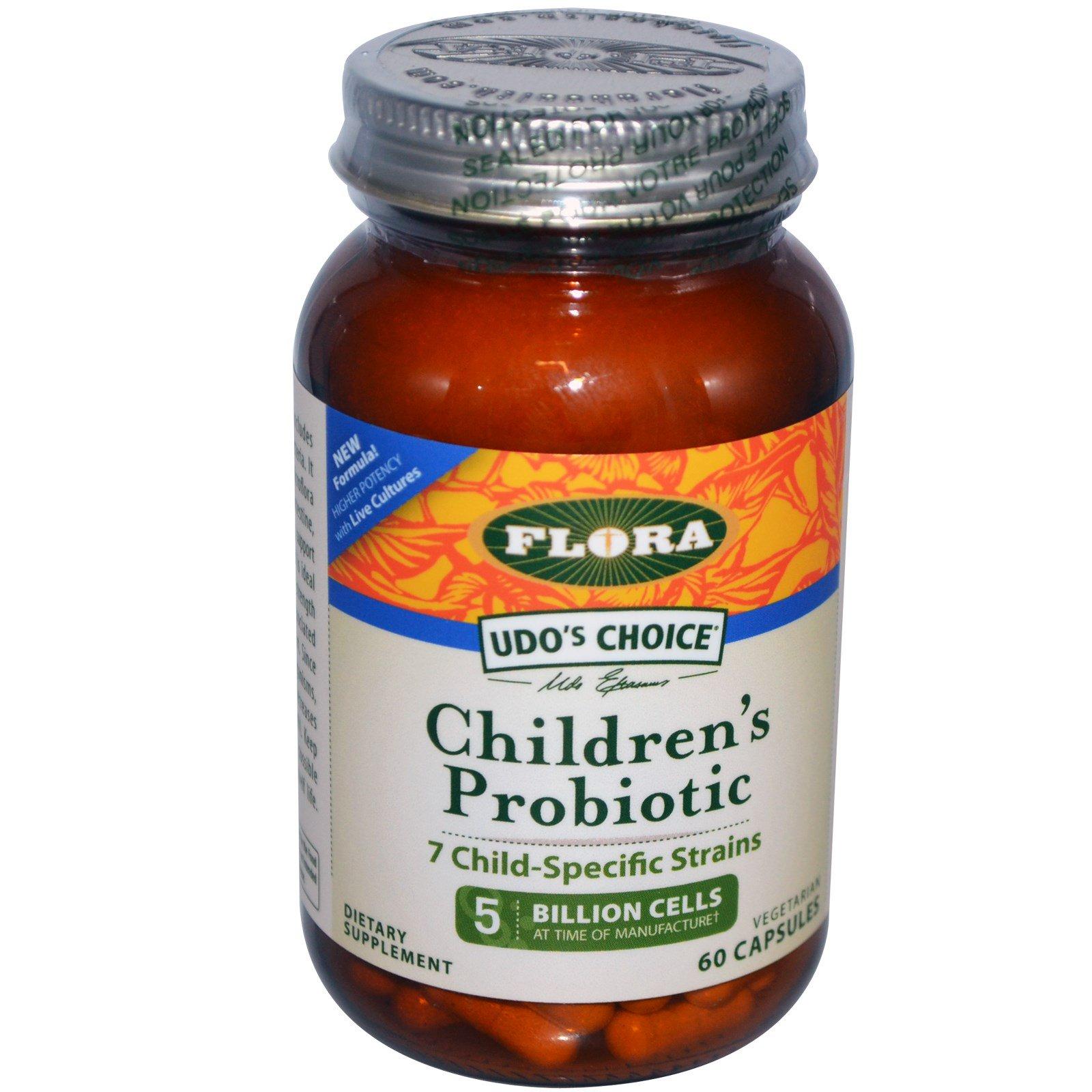 Flora, Udo's Choice, детский пробиотик, 60 вегетарианских капсул