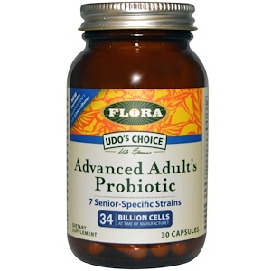 Flora, Udo's Choice, улучшенная формула пробиотика для взрослых, 30 капсул в растительной оболочке