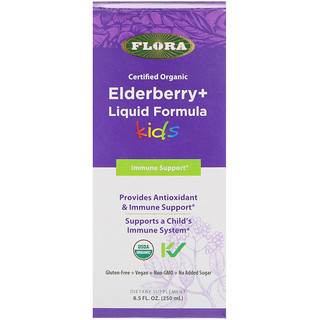 Flora, Certified Organic, Elderberry + Liquid Formula, Kids, 8.5 fl oz (250 ml)